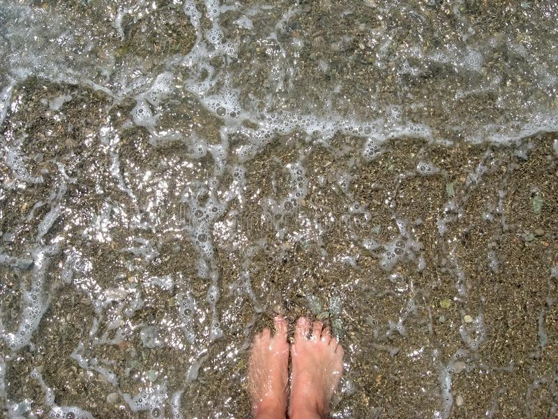 Summer vacation concept, woman feet toes in warm sea water and foam, pebbles beach. Barefoot, top view royalty free stock photo