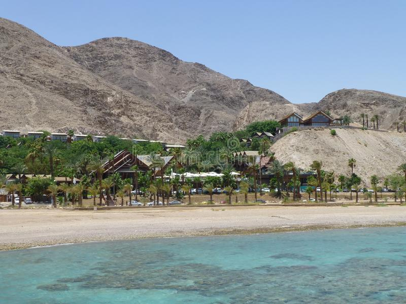 Mountains in Eilat on the Red Sea. Summer vacation in Eilat. Mountains on the Red Sea. Summer sea beach royalty free stock photos