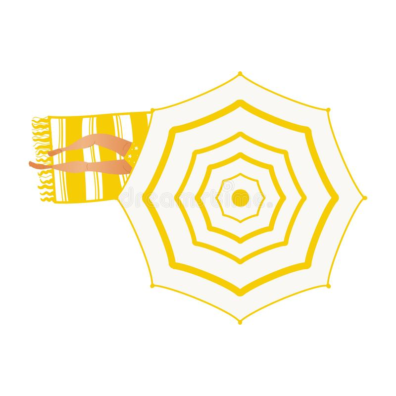Summer vacation element of girl in yellow swimsuit lying on towel under beach umbrella. Summer vacation and holiday time element with top view of girl in yellow vector illustration