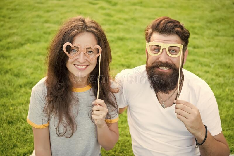 Summer vacation. Emotional couple radiating happiness. Happy together. Couple in love cheerful youth booth props. Love stock images