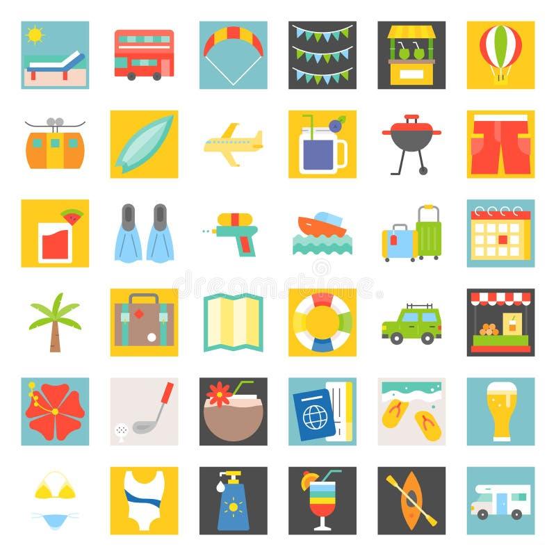 Summer vacation flat icon set vector illustration