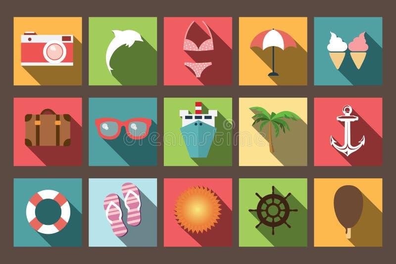 Ícones Lisos Das Férias De Verão Com Sombra Longa, Elementos Do Projeto Ilustração do Vetor - Imagem: 45138490