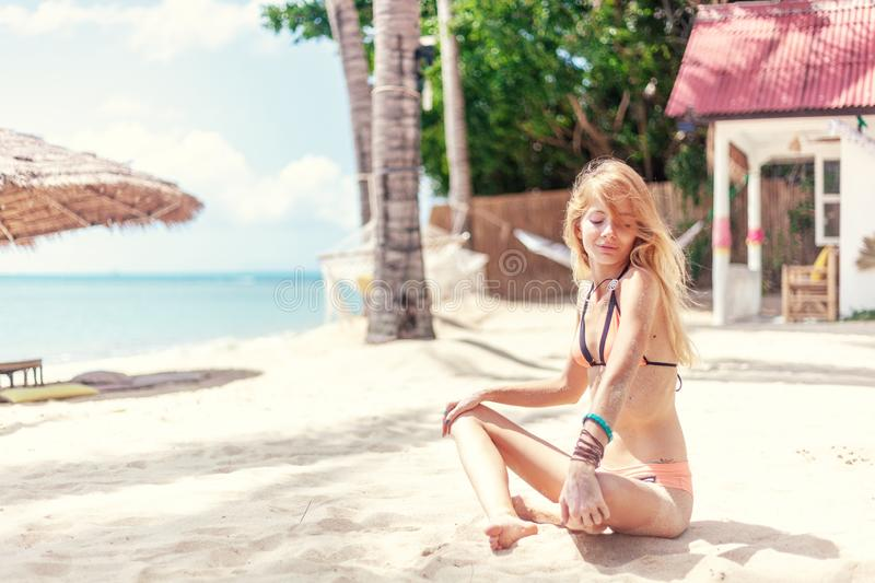Summer vacation fun. Holiday, vacation background. Beautiful woman on the shore landscape bay royalty free stock photo