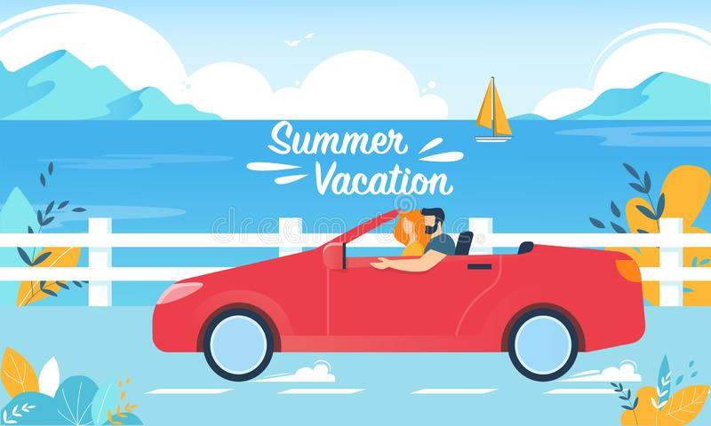 Summer Vacation Happy Couple on Red Cabriolet Car vector illustration