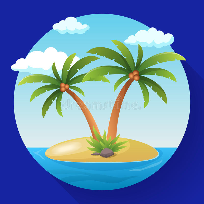 Download Summer Vacation Holiday Tropical Ocean Island With Palm Tree Flat Vector Illustration Stock Vector - Image: 83722153