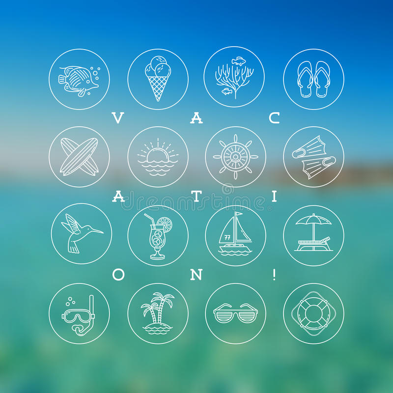 Summer vacation, holidays and travel signs and symbols stock photography