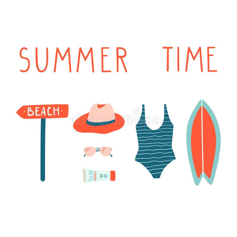 Summer vacation illustrations set. Vector modern doodle clipart. royalty free illustration