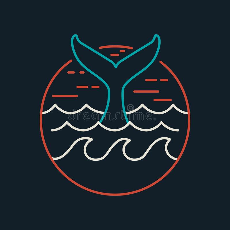 Whale icon in flat line art with ocean waves stock illustration