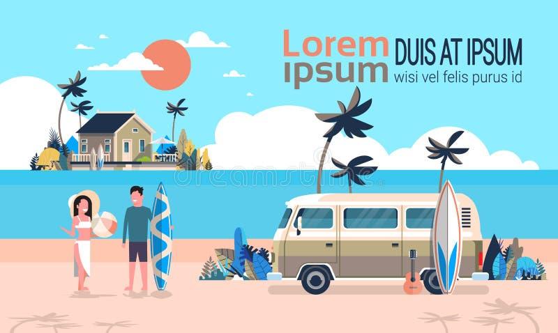 Summer vacation man woman surf bus sunrise tropical beach retro surfing vintage villa island horizontal copy space. Template poster flat vector illustration vector illustration