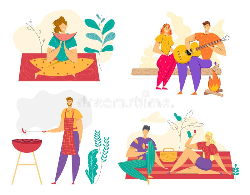 Summer Vacation Outdoor Picnic met BBQ Man Koken Vlees op Grill Happy Couple Eating in Camping vector illustratie
