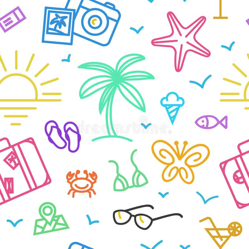 Summer vacation pattern with different travel icons in linear style. stock images