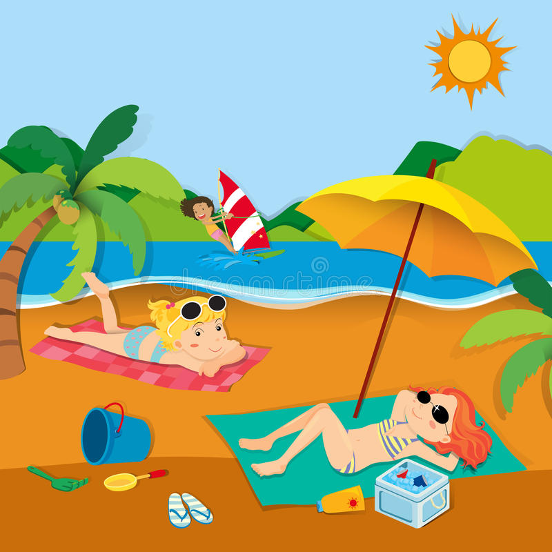 Summer vacation with people on the beach royalty free illustration