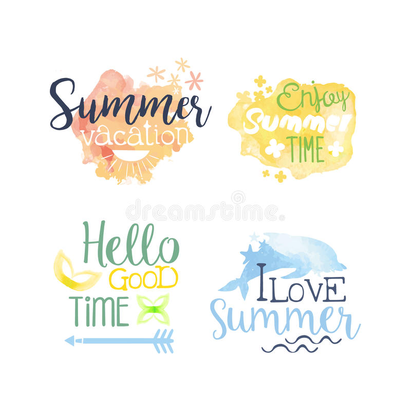 Summer Vacation Promo Signs Colorful Set. Summer Beach Vacation Promo Signs Colorful Set Of Watercolor Stylized Logo With Text On White Background royalty free illustration