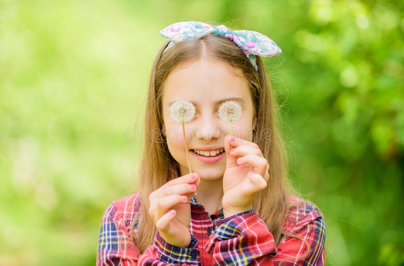 Summer vacation. Rancho and country. dandelion. Spring holiday. Womens day. happy child hold blowball. Natural beauty royalty free stock images