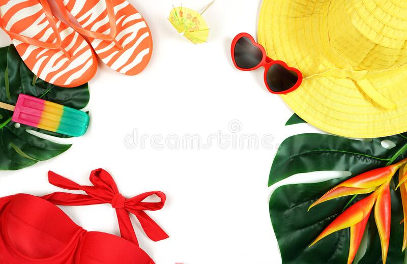 Summer vacation resort theme flat lay in bright summery colors. stock photography