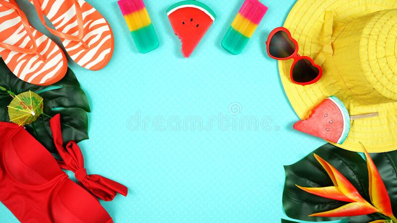 Summer vacation resort theme flat lay in bright summery colors. stock images