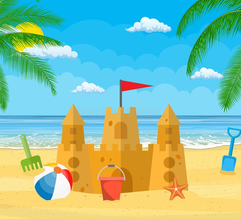 Summer Vacation. Sand Castle, stock illustration