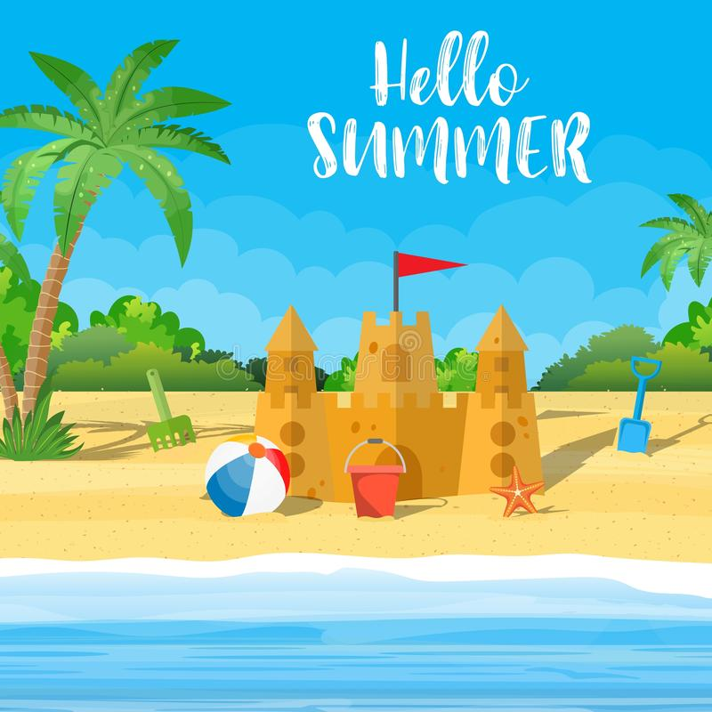 Summer Vacation. Sand Castle, vector illustration