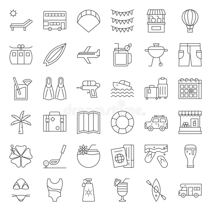 Summer vacation outline icon set stock illustration