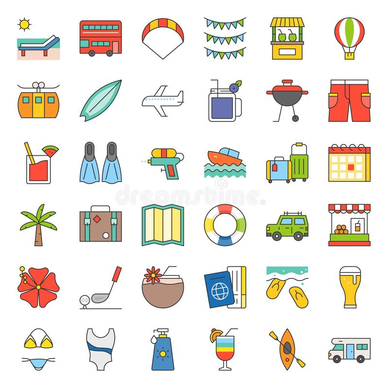 Summer vacation filled outline icon set royalty free illustration