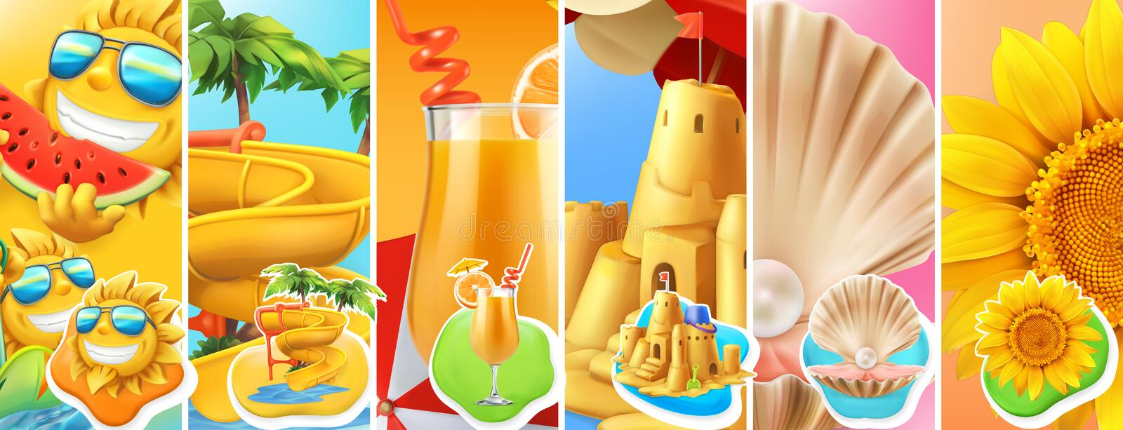 Summer vacation. Sun, water slide, cocktail, sand castle, pearl shell and sunflower. vector icon set royalty free illustration