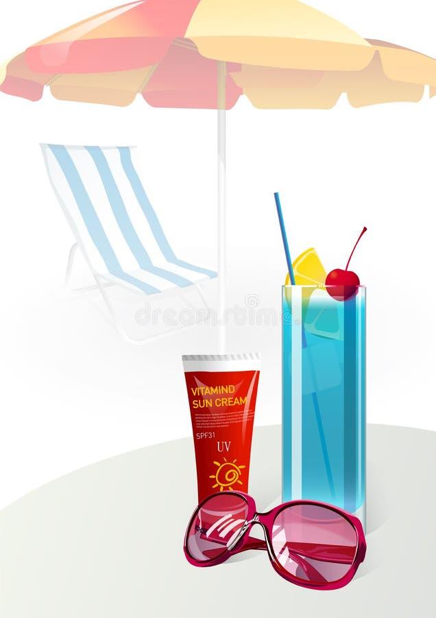 Download Summer Vacation Sunglasses Suntan Cream Stock Illustration - Image: 24003516