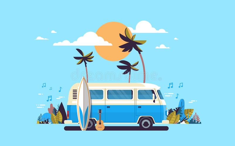 Summer vacation surf bus sunset tropical beach retro surfing vintage melody greeting card horizontal template poster. Flat vector illustration vector illustration