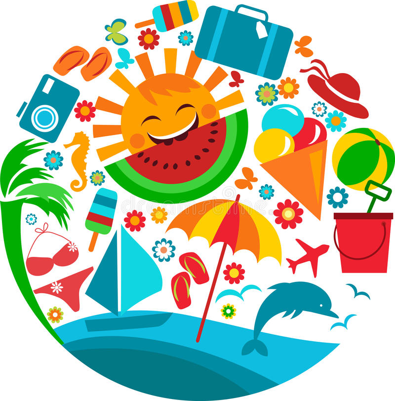 Summer vacation; template of summer icons