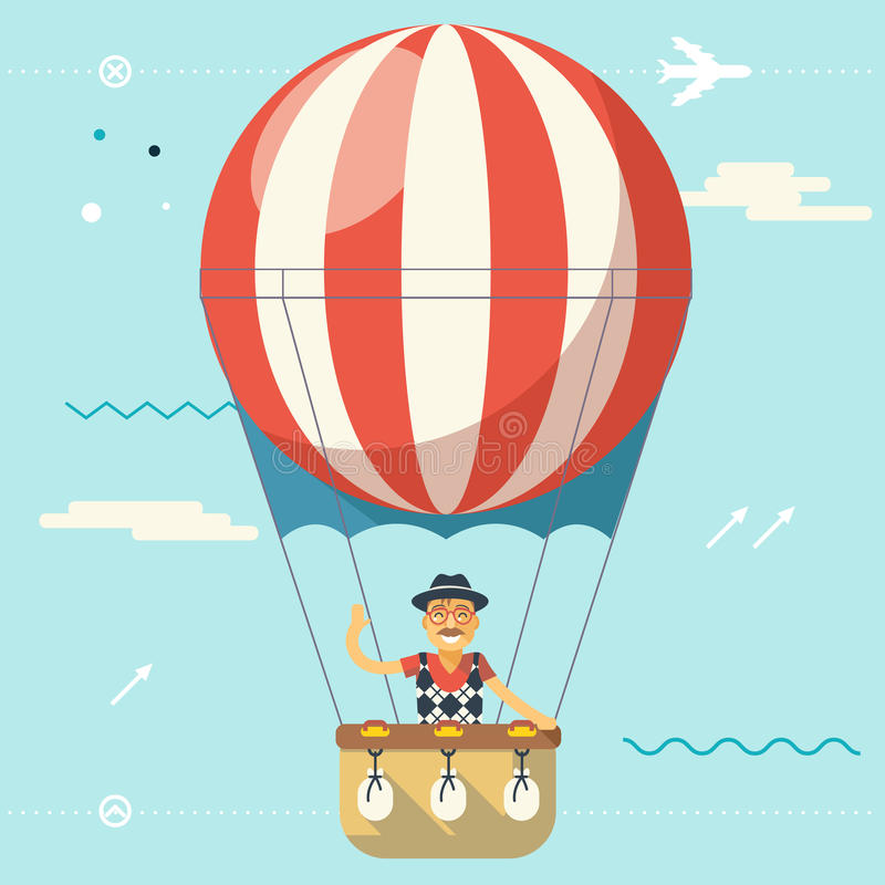 Summer Vacation Tourism and Journey Travel Lifestyle Concept Planning Symbol Happy Man Geek Hipster Flying Sky Dirigible. Summer Vacation Tourism Journey Travel stock illustration
