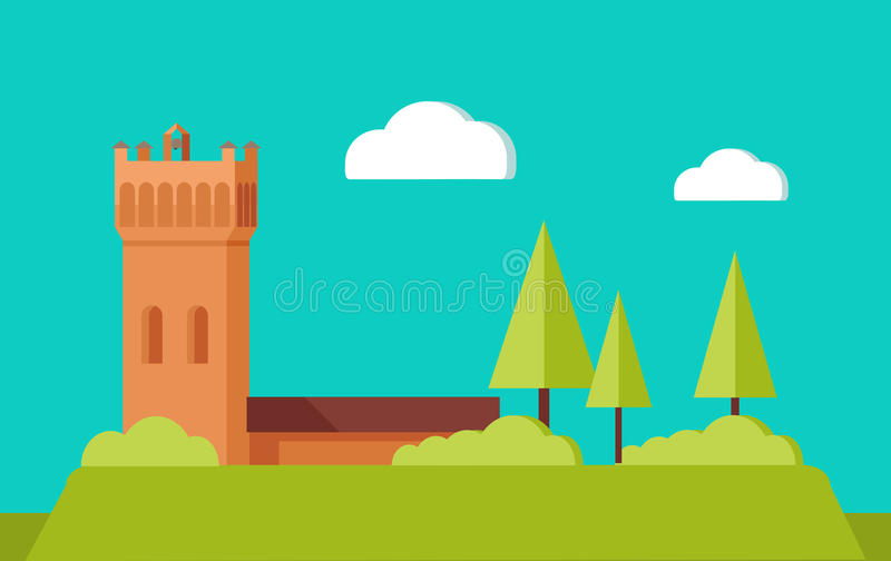 Summer Vacation Touristic Landscape Flat Vector. Summer vacation touristic landscape. European medieval castle tower or monastery building on hill with trees stock illustration