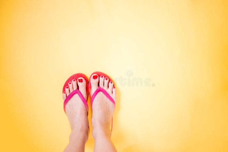 Woman`s legs wearing pink flip flops on yellow background with copy space. Summer, vacation, travel, beach concept. Woman`s legs with red pedicure wearing pink stock image