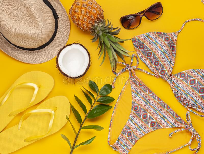Summer vacation, travel concept flat lay. Beach accessories. Summer vacation, travel, tourism concept flat lay. Tropical beach accessories top view with swimming stock photos