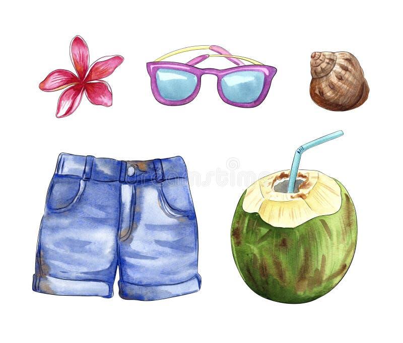 Summer vacation travel stuff, beach objects: shorts,sunglasses, coconut, shell, plumeria flower. Watercolor illustration royalty free illustration