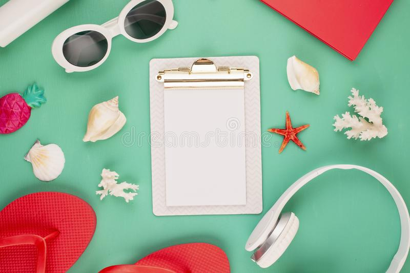 Summer vacation, travel, tourism concept flat lay. Beach, countryside, casual urban accessories flatlay. Summer vacation, travel, tourism concept flat lay. Beach royalty free stock photo