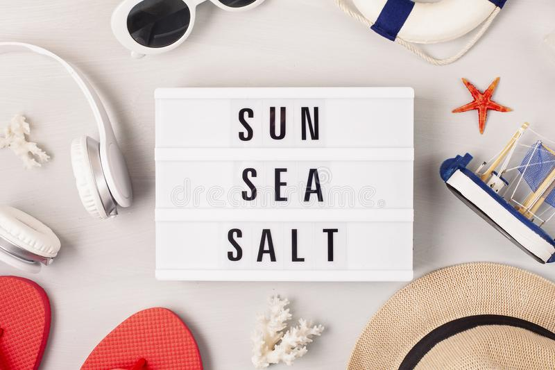 Summer vacation, travel, tourism concept flat lay. Beach, countryside, casual urban accessories. Top view stock images