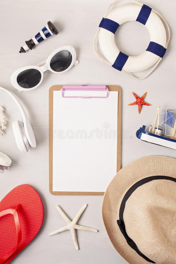 Summer vacation, travel, tourism concept flat lay. Beach, countryside, casual urban accessories. Top view stock photo