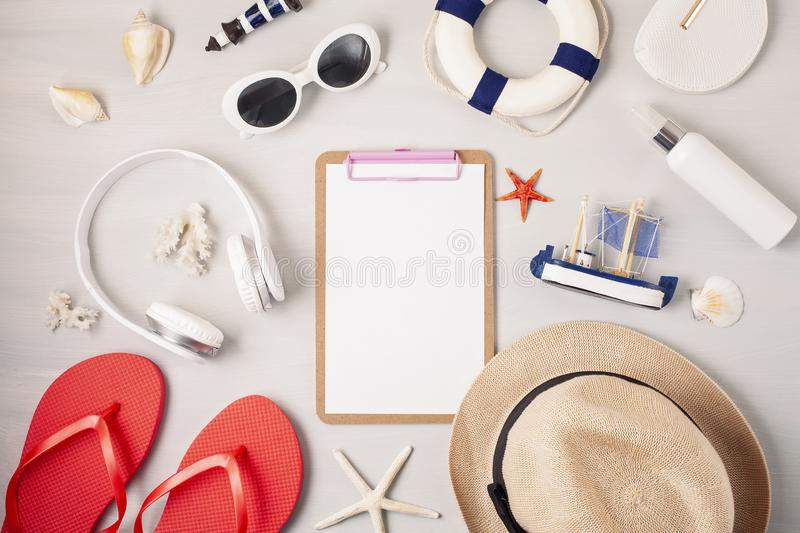 Summer vacation, travel, tourism concept flat lay. Beach, countryside, casual urban accessories. Top view stock photos