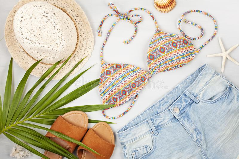 Summer vacation, travel, tourism concept flat lay. Beach, countryside, casual urban accessories. Top view stock photography