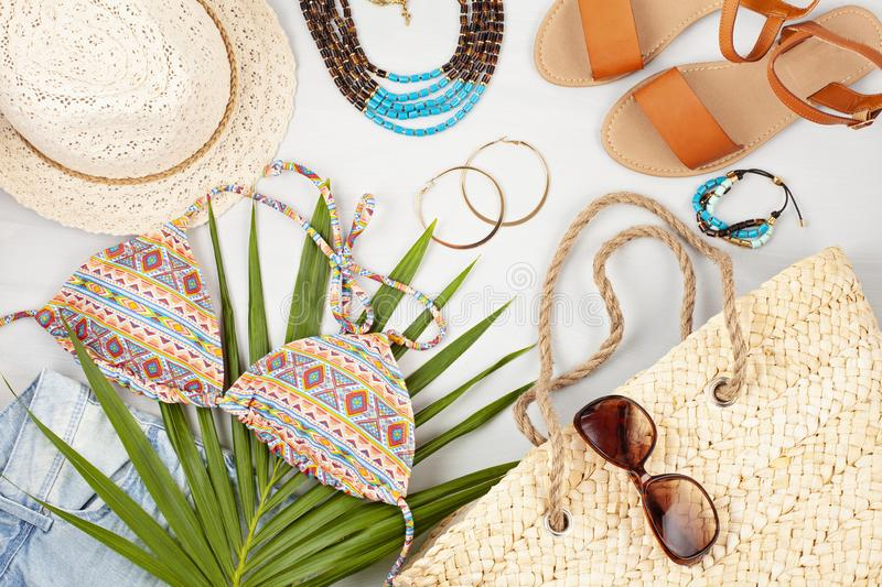 Summer vacation, travel, tourism concept flat lay. Beach, countryside, casual urban accessories. Top view stock image