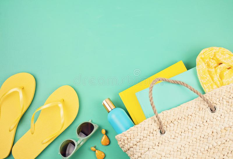 Summer vacation, travel, tourism concept flat lay. Beach, countryside, casual urban accessories. Top view royalty free stock photos