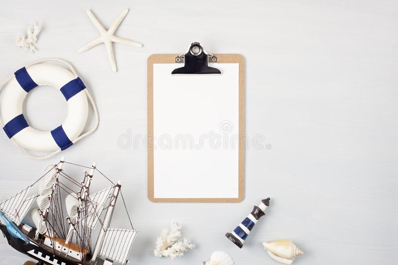 Summer vacation, travel, tourism concept flat lay. Marine beach accessories top view royalty free stock photos