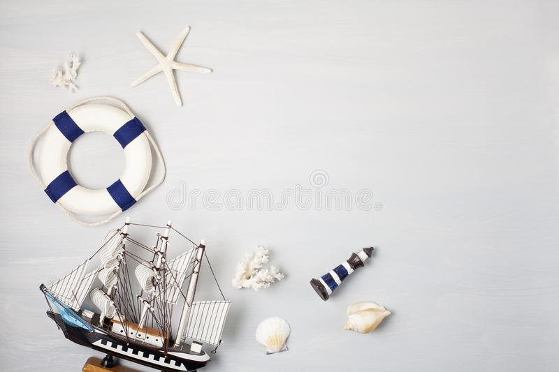 Summer vacation, travel, tourism concept flat lay. Marine beach accessories top view royalty free stock photo