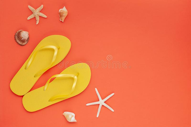 Summer vacation, travel, tourism concept flat lay. Tropical beach accessories top view royalty free stock photography