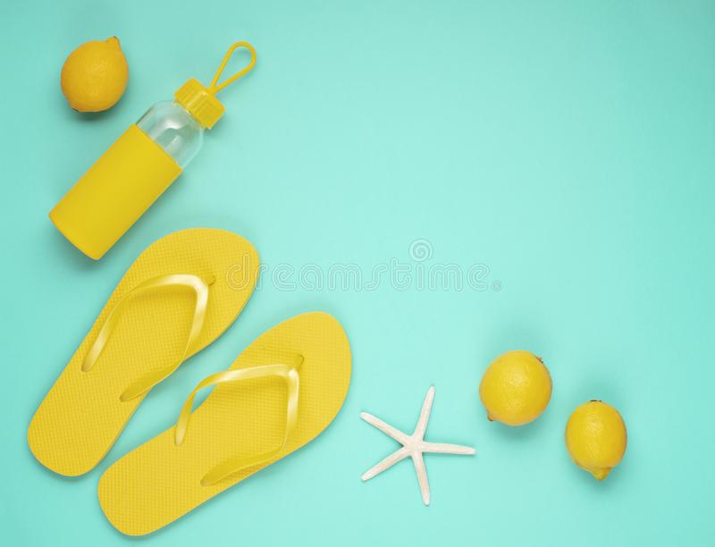 Summer vacation, travel, tourism concept flat lay. Tropical beach accessories top view stock photo