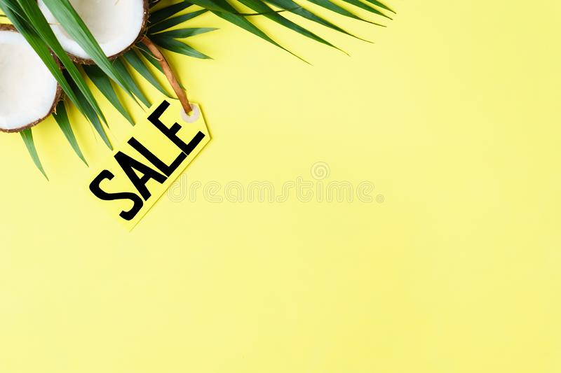 Summer vacation sale, price tag and coconut. Summer vacation, travel, tropical beach, summertime holidays seasonal sale, shopping. special offer, discount symbol stock photos