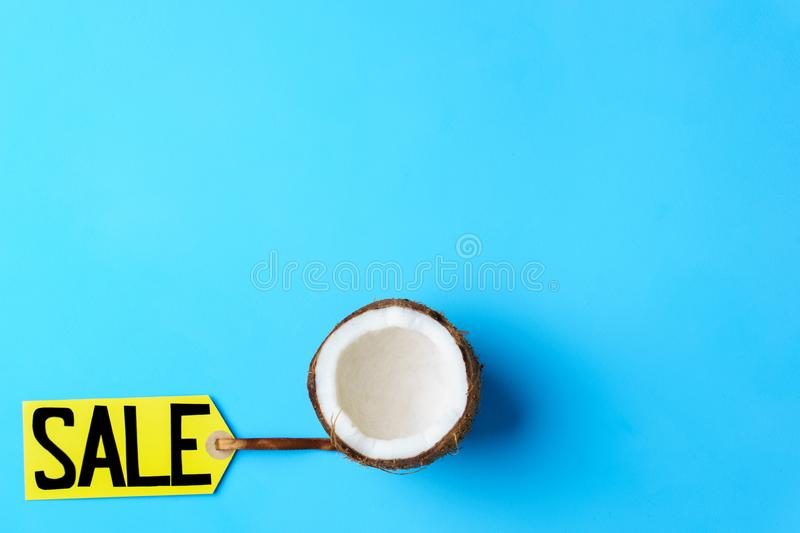 Summer vacation sale, price tag and coconut. Summer vacation, travel, tropical beach, summertime holidays seasonal sale, shopping. special offer, discount symbol royalty free stock image