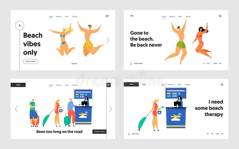 Summer Vacation , Traveling Website Landing Page Set,Happy People in Swimming Suits Jumping with Hands Up stock illustration