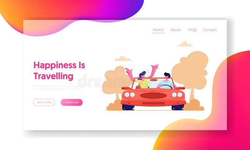 Summer Vacation, Trip, Journey. Website Landing Page, Happy Couple Driving Red Cabriolet Car on Nature Landscape Background stock illustration
