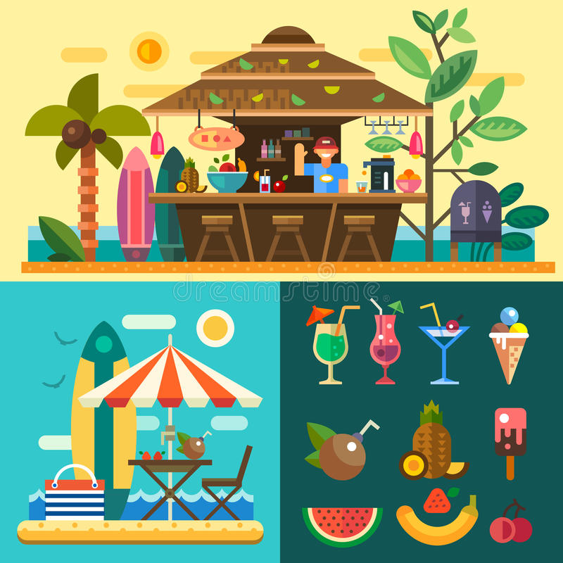 Summer vacation in a tropical country royalty free illustration