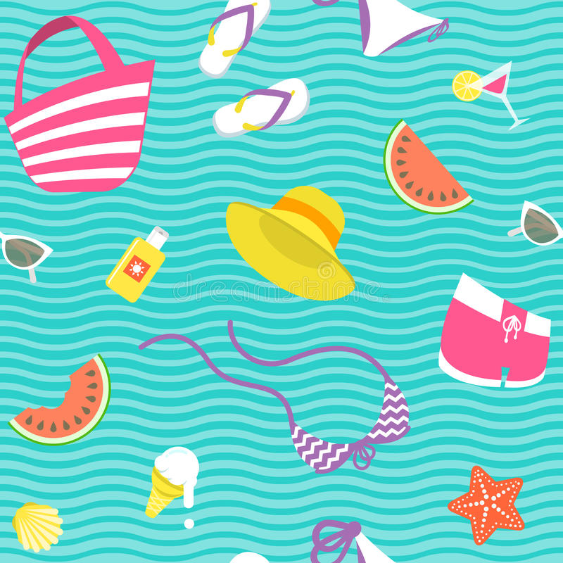 Summer vacation vector flat style seamless background pattern vector illustration